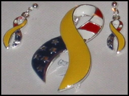 Support Our Troops in Iraq Patriotic Yellow Ribbon American Flag Earrings Pin Pendant Set J62