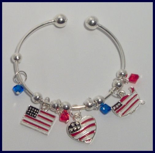 Patriotic American Flag Heart USA Map Charm Bracelet Support Our Troops in Iraq
