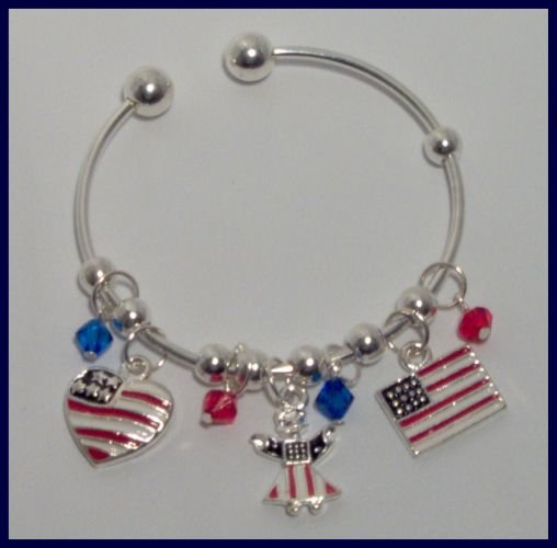 Patriotic American Flag Heart Angel Danglers Charm Bracelet Support Our Troops in Iraq