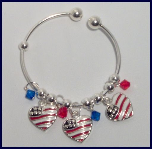 Patriotic American Flag Heart Danglers Charm Bracelet Support Our Troops in Iraq Army Marine Soldier