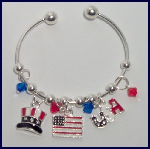 Patriotic Top Hat American Flag USA Danglers Charm Bracelet Support Our Troops in Iraq