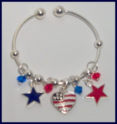 Patriotic American Flag Heart and Stars Danglers Bracelet Support Our Troops in Iraq Army Marine