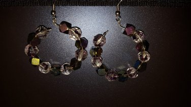 Purple crystal hoops