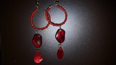 Red Hoops with dangles