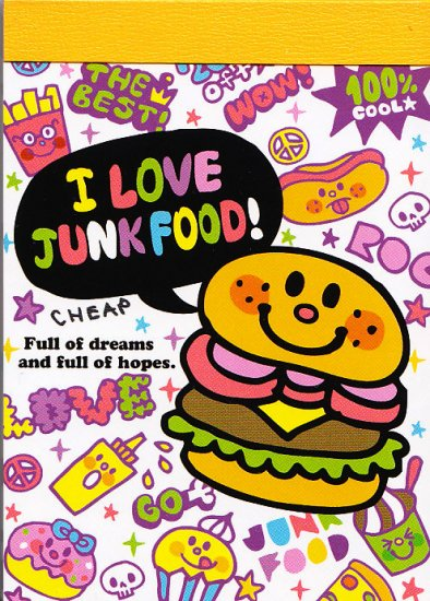 Kamio Japan I Love Junk Food mini memo