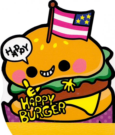 Kamio Japan Happy Burger die cut memo
