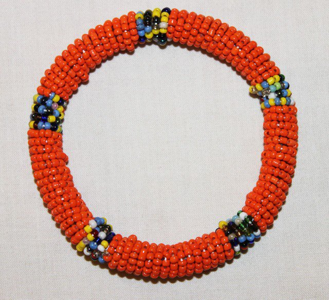 KENYA MAASAI BEADED BANGLE - ORANGE - 2.5""