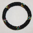 KENYA MAASAI BEADED BANGLE - SHINY BLACK - 2.5""