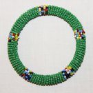 KENYA MAASAI BEADED BANGLE - GREEN - 2.5""