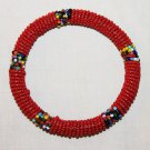 KENYA MAASAI BEADED BANGLE - RED - 2.5""