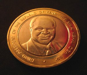 KENYA BIMETAL 40 SHILLING COIN - KIBAKI - 2003 (UNC)