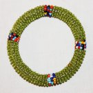 KENYA MAASAI BEADED BANGLE - SHINY GREEN - 2.25""