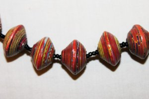 UGANDA PAPER BEADED NECKLACE HANDMADE - BIG BEADS #21