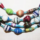 "UGANDA PAPER BEADED NECKLACE HANDMADE - LONG 40"" #04"