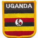 UGANDA FLAG PATCH  - SHIELD - EMBROIDERED BADGE