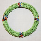 KENYA MAASAI BEADED BANGLE - LIGHT GREEN - 2.5""
