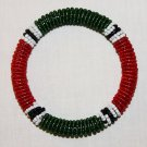 KENYA MAASAI BEADED BANGLE - RED GREEN - 2.5""