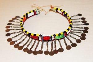 AFRICAN MAASAI (MASAI) BEAD CHOKER NECKLACE - MARA #09