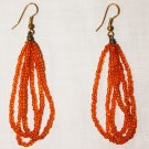 MAASAI (MASAI) BEADED EARRINGS - ORANGE - MADE IN KENYA