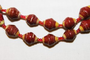 UGANDA PAPER BEADED NECKLACE HANDMADE - MEDIUM BEAD #03