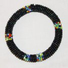 KENYA MAASAI BEADED BANGLE - MULTI SHINY BLACK - 2.5""