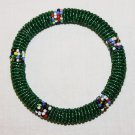 KENYA MAASAI BEADED BANGLE - SHINY GREEN - 2.5""
