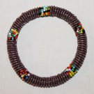 KENYA MAASAI BEADED BANGLE - SHINY PURPLE - 2.5""