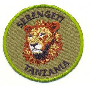 SERENGETI TANZANIA LION PATCH  - EMBROIDERED BADGE