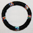KENYA MAASAI BEADED BANGLE - BLACK - 2.5""