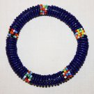 KENYA MAASAI BEADED BANGLE - DARK BLUE - 2.5""