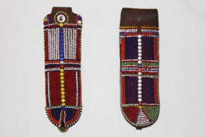 AFRICAN ANTIQUE MAASAI (MASAI) BEAD EARRINGS -KENYA #02