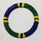KENYA MAASAI BEADED BANGLE - BLUE & GREEN - 2.5""