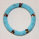 KENYA MAASAI BEADED BANGLE - LIGHT BLUE - 2.5""