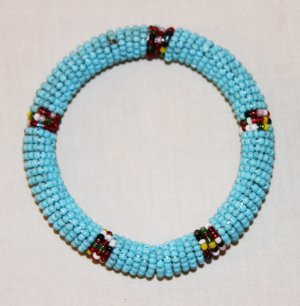 KENYA MAASAI BEADED BANGLE - LIGHT BLUE - 2.5&quot;