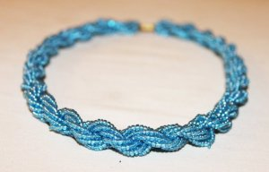 KENYA MAASAI BEADED TWISTED NECKLACE - LIGHT BLUE