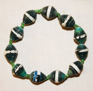 UGANDA PAPER BEADED BRACELET HANDMADE - MEDIUM BEAD #11