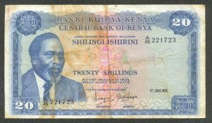 KENYA 20 SHILLINGS BANKNOTE - 1ST JULY 1971 - VF/F