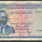 KENYA 20 SHILLINGS BANKNOTE - 1ST JULY 1967 - F