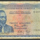 KENYA 20 SHILLINGS BANKNOTE - 1ST JULY 1966 - F