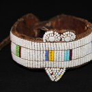 AFRICAN MAASAI (MASAI) BEAD ARM CUFF - LEATHER -TZ #04
