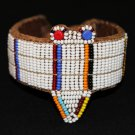 AFRICAN MAASAI (MASAI) BEAD ARM CUFF - LEATHER -TZ #03