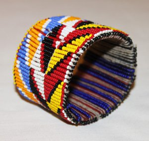 AFRICAN MAASAI (MASAI) BEADED BANGLE/CUFF - KENYA #02