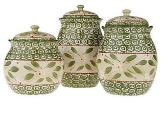 Temp-Tations Old World 3 Piece Fluted Canister Set GREEN
