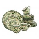 Temp-Tations Old World 16 Piece Dinnerware Set GREEN