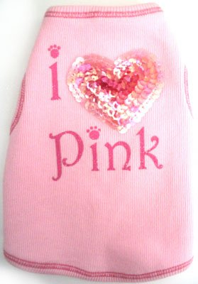 Dog Cothes Adorable Valentine I Love Pink Sequin Heart Tank