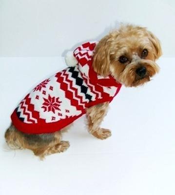 Dog Clothes Adorable Fair Isle White Snowflake Hoodie