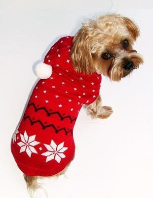 Dog Clothes Adorable Fair Isle Red Snowflake Hoodie Sweater