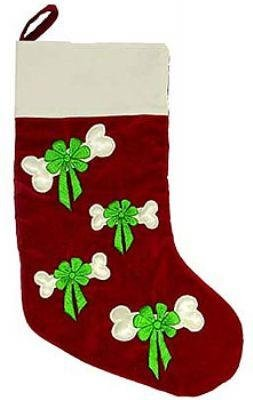 Dog Clothes Adorable Bow & Bone Embroidered Stocking