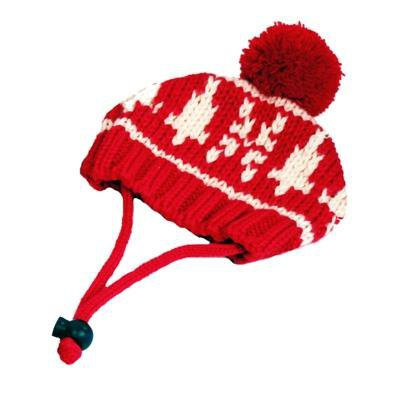 Dog Clothes Adorable Ribbed Winter Dog Hat - Snowflake