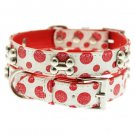Dog Collars Red - White Polka Dot Glitter Silver Bone Collar & Leash Set